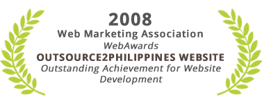 Outstanding Achievement for Website Development, Outsource2Philippines Website, Web Marketing Association 2008