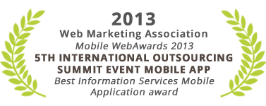 Best Information Services Mobile Application award, 5th International Outsourcing Summit Event Mobile App, Web Marketing Association
