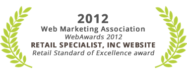 Retail Standard of Excellence award, Retail Specialist Website, Web Marketing Association