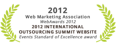 Events Standard of Excellence award, 2012 International Outsourcing Summit website, Web Marketing Association