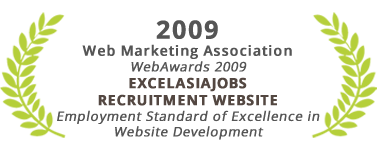 Employment Standard of Excellence in Website Development, Excelasiajobs Recruitment Website, Web Marketing Association 2009