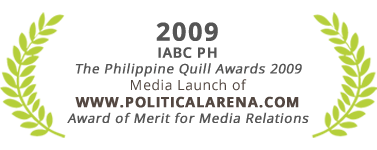Award of Merit for Media Relations, Politicalarena, The Philippine Quill Awards 2009
